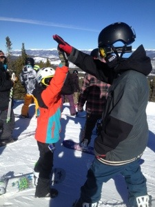 Darren with some #breckHighFives just after they got 1,2,3 built.