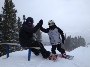 That's legend Chad Otterstrom and me up at Breck. That's the rad new Nomis jacket and pant.
